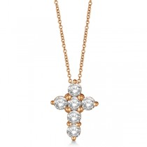 Prong Set Round Diamond Cross Pendant Necklace 14k Rose Gold (2.05ct)