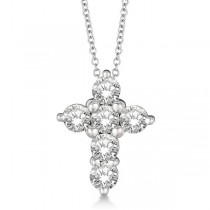 Prong Set Round Diamond Cross Pendant Necklace 14k White Gold (1.05ct)