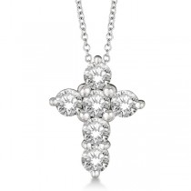 Prong Set Round Diamond Cross Pendant Necklace 14k White Gold (1.30ct)