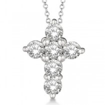 Prong Set Round Diamond Cross Pendant Necklace 14k White Gold (1.50ct)