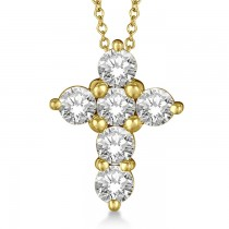 Prong Set Round Diamond Cross Pendant Necklace 14k Yellow Gold (1.50ct)