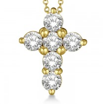 Prong Set Round Diamond Cross Pendant Necklace 14k Yellow Gold (2.05ct)