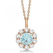 Halo Diamond and Aquamarine Lady Di Pendant Necklace 14K Rose Gold (1.69ct)