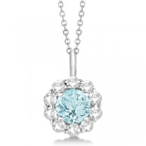 Halo Diamond and Aquamarine Lady Di Pendant Necklace 14K White Gold (1.69ct)
