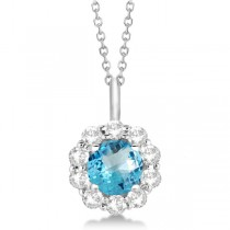 Halo Diamond and Blue Topaz Lady Di Pendant Necklace 14K White Gold (1.69ct)