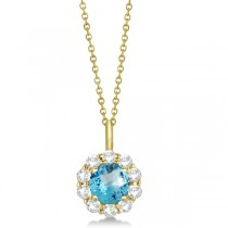 Halo Diamond and Blue Topaz Lady Di Pendant Necklace 14K Yellow Gold (1.69ct)