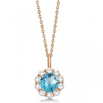 Halo Diamond and Blue Topaz Lady Di Pendant Necklace 18k Rose Gold (1.69ct)