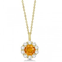 Halo Diamond and Citrine Lady Di Pendant Necklace 14K Yellow Gold (1.69ct)
