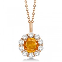 Halo Diamond and Citrine Lady Di Pendant Necklace 18k Rose Gold (1.69ct)