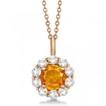 Halo Diamond and Citrine Lady Di Pendant Necklace 18k Rose Gold (1.69ct)