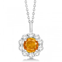 Halo Diamond and Citrine Lady Di Pendant Necklace 18k White Gold (1.69ct)
