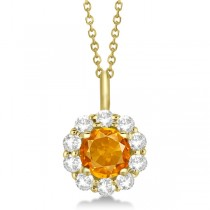 Halo Diamond and Citrine Lady Di Pendant Necklace 18k Yellow Gold (1.69ct)
