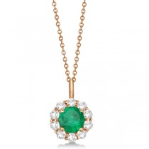 Halo Diamond and Emerald Lady Di Pendant Necklace 14K Rose Gold (1.69ct)