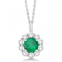 Halo Diamond and Emerald Lady Di Pendant Necklace 14K White Gold (1.69ct)