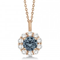 Halo Diamond and Gray Spinel Lady Di Pendant Necklace 14K Rose Gold (1.69ct)