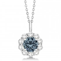 Halo Diamond and Gray Spinel Lady Di Pendant Necklace 14K White Gold (1.69ct)