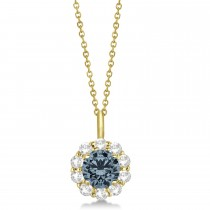 Halo Diamond and Gray Spinel Lady Di Pendant Necklace 14K Yellow Gold (1.69ct)