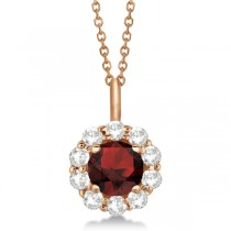 Halo Diamond and Garnet Lady Di Pendant Necklace 14K Rose Gold (1.69ct)