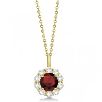 Halo Diamond and Garnet Lady Di Pendant Necklace 14K Yellow Gold (1.69ct)