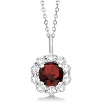 Halo Diamond and Garnet Lady Di Pendant Necklace 18k White Gold (1.69ct)