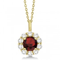 Halo Diamond and Garnet Lady Di Pendant Necklace 18k Yellow Gold (1.69ct)