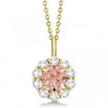 Halo Diamond and Morganite Lady Di Pendant Necklace 14K Yellow Gold (1.69ct)