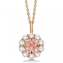 Halo Diamond and Morganite Lady Di Pendant Necklace 18k Rose Gold (1.69ct)