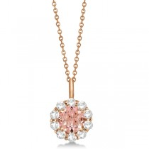Halo Diamond and Morganite Lady Di Pendant Necklace 18k Rose Gold (1.69ct)|escape