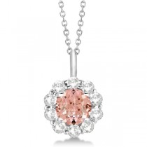 Halo Diamond and Morganite Lady Di Pendant Necklace 18k White Gold (1.69ct)