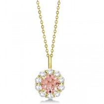 Halo Diamond and Morganite Lady Di Pendant Necklace 18k Yellow Gold (1.69ct)