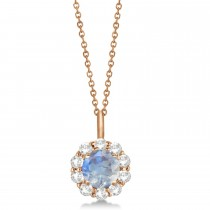 Halo Diamond and Moonstone Lady Di Pendant Necklace 14K Rose Gold (1.69ct)