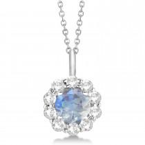 Halo Diamond and Moonstone Lady Di Pendant Necklace 14K White Gold (1.69ct)