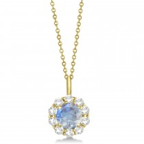 Halo Diamond and Moonstone Lady Di Pendant Necklace 14K Yellow Gold (1.69ct)