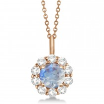 Halo Diamond and Moonstone Lady Di Pendant Necklace 18k Rose Gold (1.69ct)