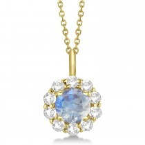 Halo Diamond and Moonstone Lady Di Pendant Necklace 18k Yellow Gold (1.69ct)