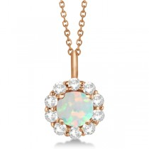 Halo Diamond and Opal Lady Di Pendant Necklace 14K Rose Gold (1.69ct)