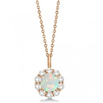 Halo Diamond and Opal Lady Di Pendant Necklace 18k Rose Gold (1.69ct)