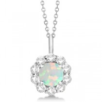 Halo Diamond and Opal Lady Di Pendant Necklace 18k White Gold (1.69ct)
