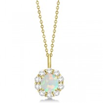 Halo Diamond and Opal Lady Di Pendant Necklace 18k Yellow Gold (1.69ct)