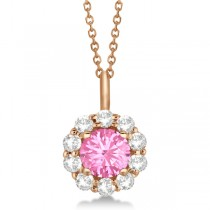 Halo Diamond and Pink Tourmaline Lady Di Pendant Necklace 14K Rose Gold (1.69ct)