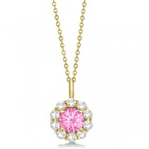 Halo Diamond and Pink Tourmaline Lady Di Pendant Necklace 14K Yellow Gold (1.69ct)