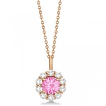 Halo Diamond and Pink Tourmaline Lady Di Pendant Necklace 18k Rose Gold (1.69ct)