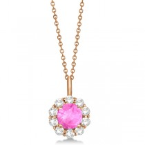 Halo Diamond and Pink Sapphire Lady Di Pendant Necklace 14K Rose Gold (1.69ct)