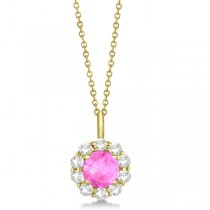 Halo Diamond and Pink Sapphire Lady Di Pendant Necklace 14K Yellow Gold (1.69ct)