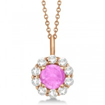 Halo Diamond and Pink Sapphire Lady Di Pendant Necklace 18k Rose Gold (1.69ct)