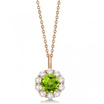 Halo Diamond and Peridot Lady Di Pendant Necklace 14K Rose Gold (1.69ct)