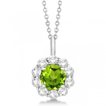 Halo Diamond and Peridot Lady Di Pendant Necklace 18k White Gold (1.69ct)
