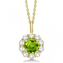 Halo Diamond and Peridot Lady Di Pendant Necklace 18k Yellow Gold (1.69ct)