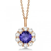 Halo Diamond and Tanzanite Lady Di Pendant Necklace 14K Rose Gold (1.69ct)
