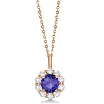 Halo Diamond and Tanzanite Lady Di Pendant Necklace 14K Rose Gold (1.69ct)